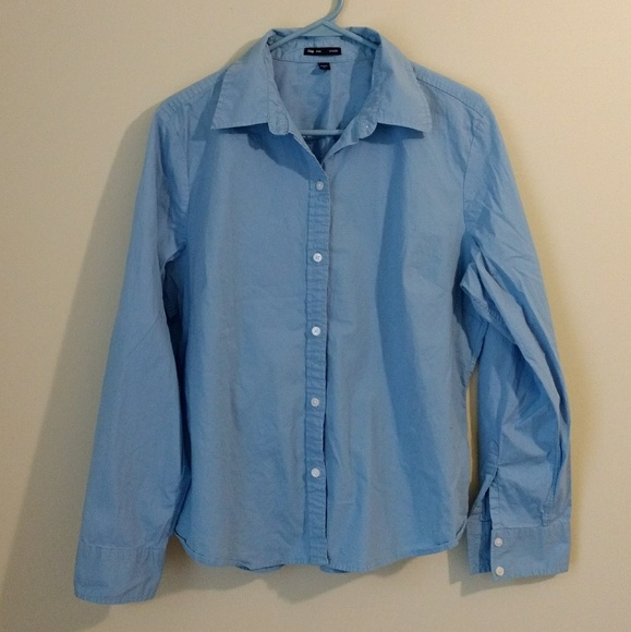 d09c44b1 GAP Tops | Stretch Womens Cut Blue Button Down Shirt Xl | Poshmark